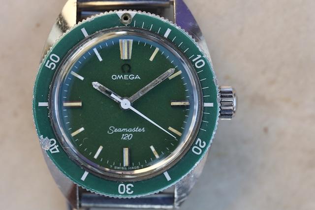"""【OMEGA】 1970  オメガ シーマスター120 ボーイズサイズ """"GREEN""""   手巻き OH済み Vintagewatch / Hand winding / Cal.630 / Seamaster120"""
