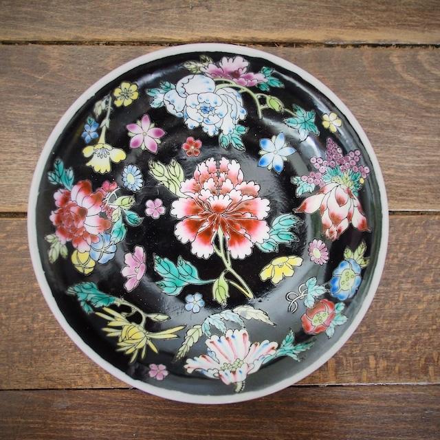 『黒花の丸深皿14センチ』景徳鎮