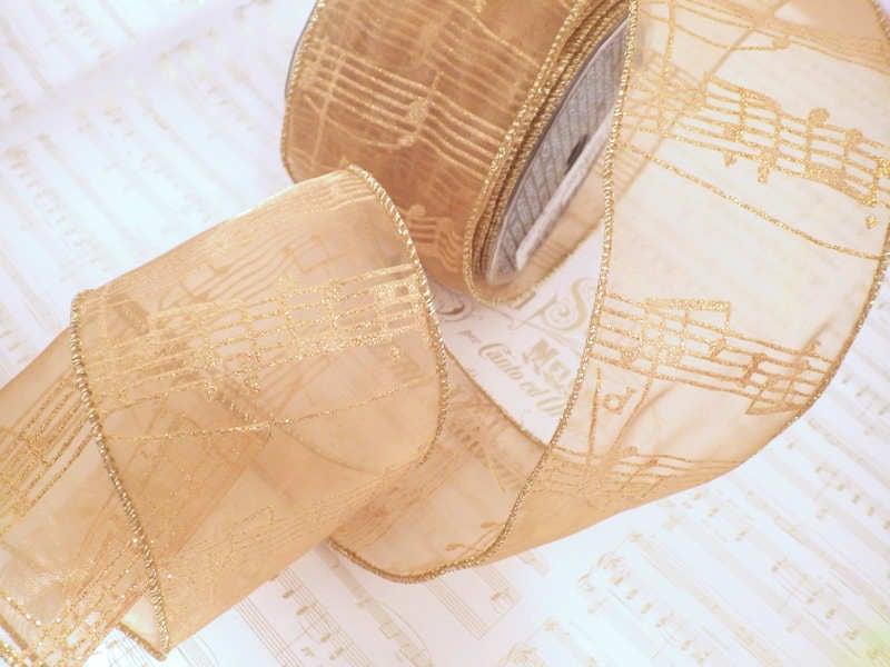 オーガンジー ワイヤー入りリボン 楽譜 ゴールド(幅74mm)