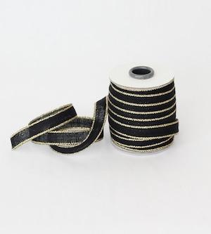 Drittofilocottonribbon   spool of 20 yards Black/Gold【Studio Carta】/コットンリボン スタジオカルタ