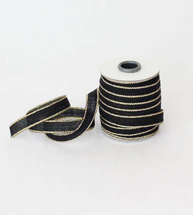 Drittofilocottonribbon | spool of 20 yards Black/Gold【Studio Carta】/コットンリボン スタジオカルタ