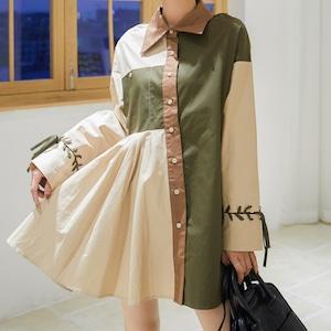 【トップス】美人度アップ切り替えボタン配色ギャザー飾りスウィートシャツ52324316
