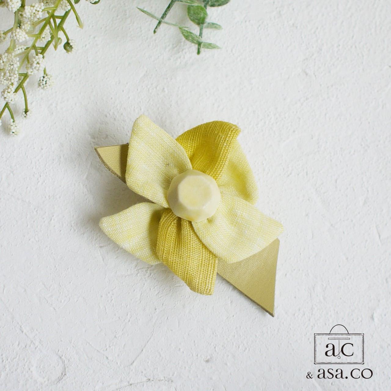 麻のブローチ 〈 Jewel 〉Yellow