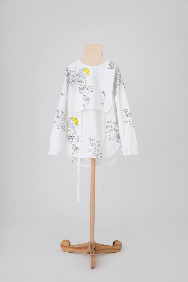 【21AW】folkmade(フォークメイド) map pattern shirt シャツ white (LL)