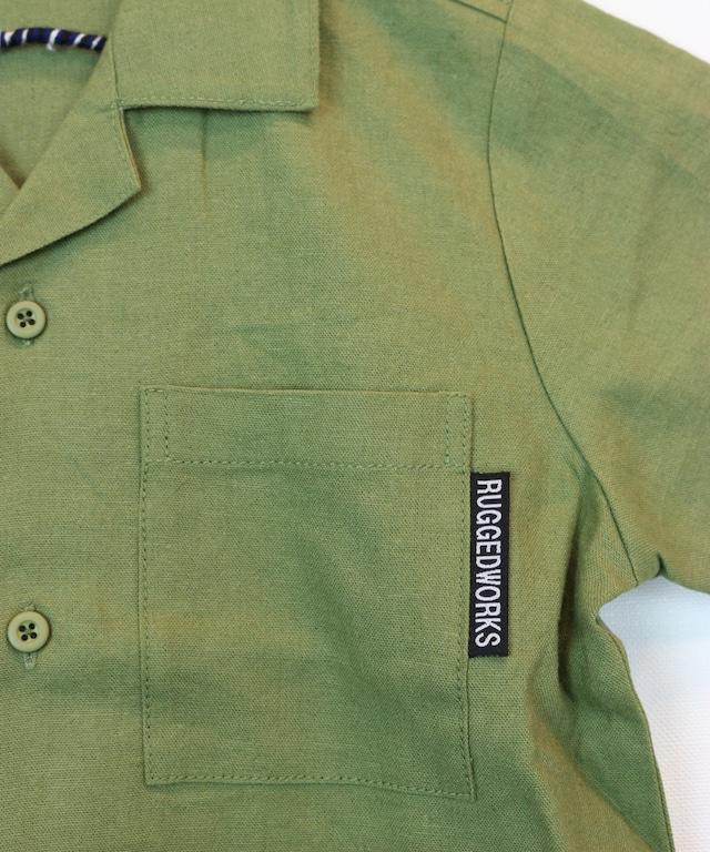 麻混開襟半袖シャツ(セットアップ可)