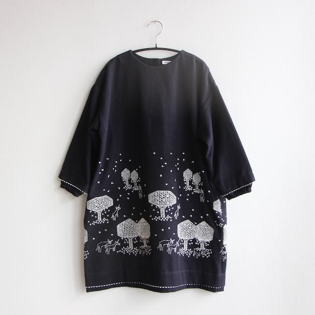 《mina perhonen 2021AW》mori no hoshi ドレス / navy / 120cm