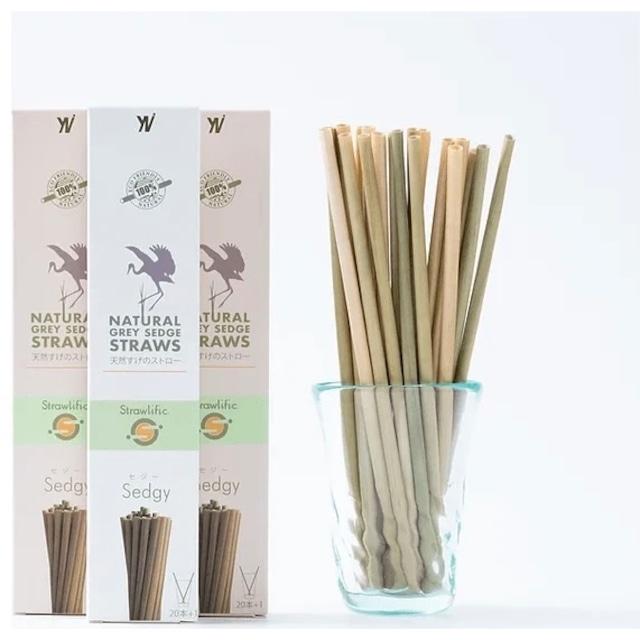 セジーストロー (天然すげのストロー)20p Natural grey sedge straws 20p