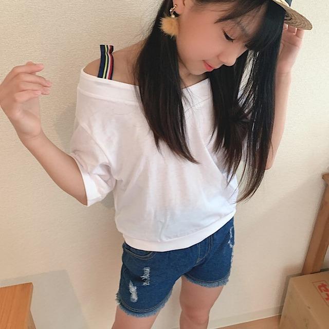 【子供服】ボトムス デニム ショートパンツ ショーパン パンツ ダメージ 韓国 ズボン