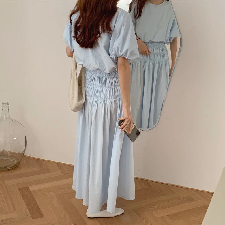 puff sleeve blouse & Aline skirt set up(Blue)