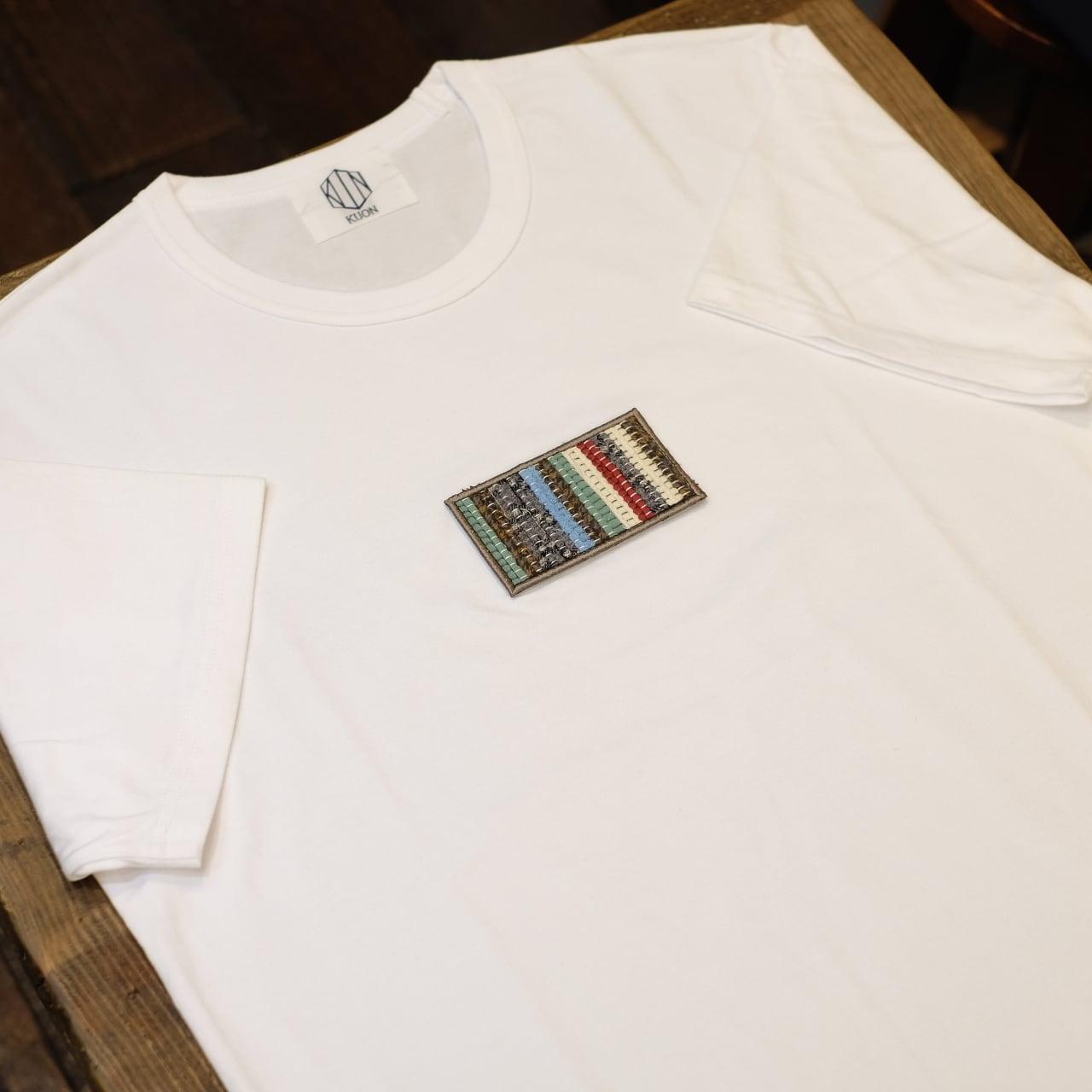 KUON(クオン) 裂き織り胸パッチTシャツ ホワイト