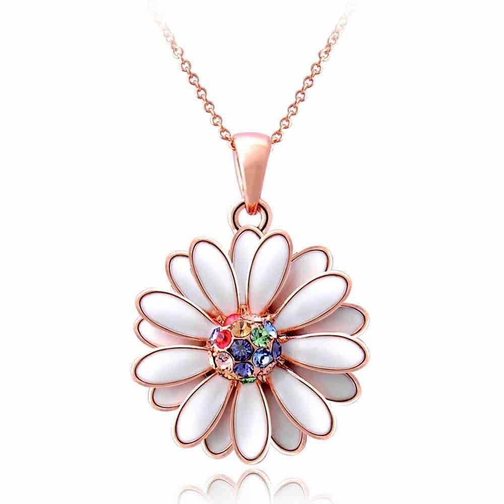 IUHA デイジー花のモチーフネックレス オーストリア産クリスタル ,73iuhav
