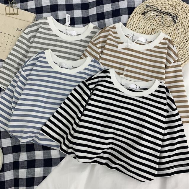【M~XXL展開】コットンボーダーTシャツ 4 colors