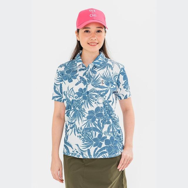 【 LADIES 】「Tee-chi」×「PAIKAJI」サンゴクロスポロシャツ【WHITE×NAVY】<Sサイズ>