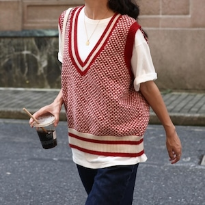Houndstooth knit vest( ハウンドストゥースニットベスト)b-499