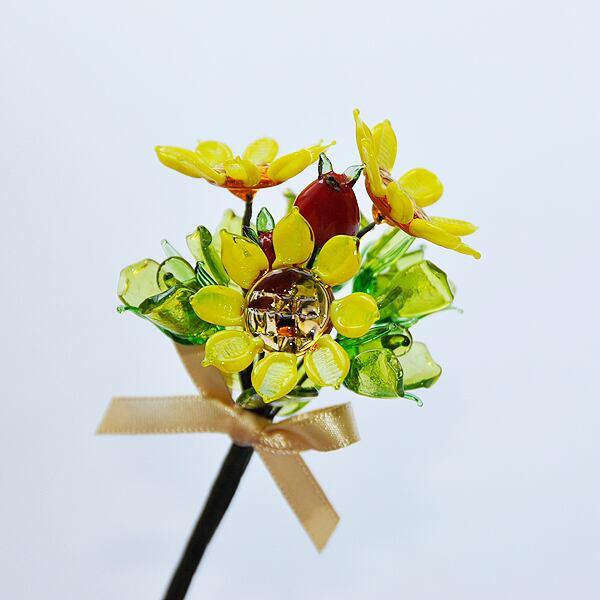 グラスフラワー プチブーケ(ひまわりと赤い実)