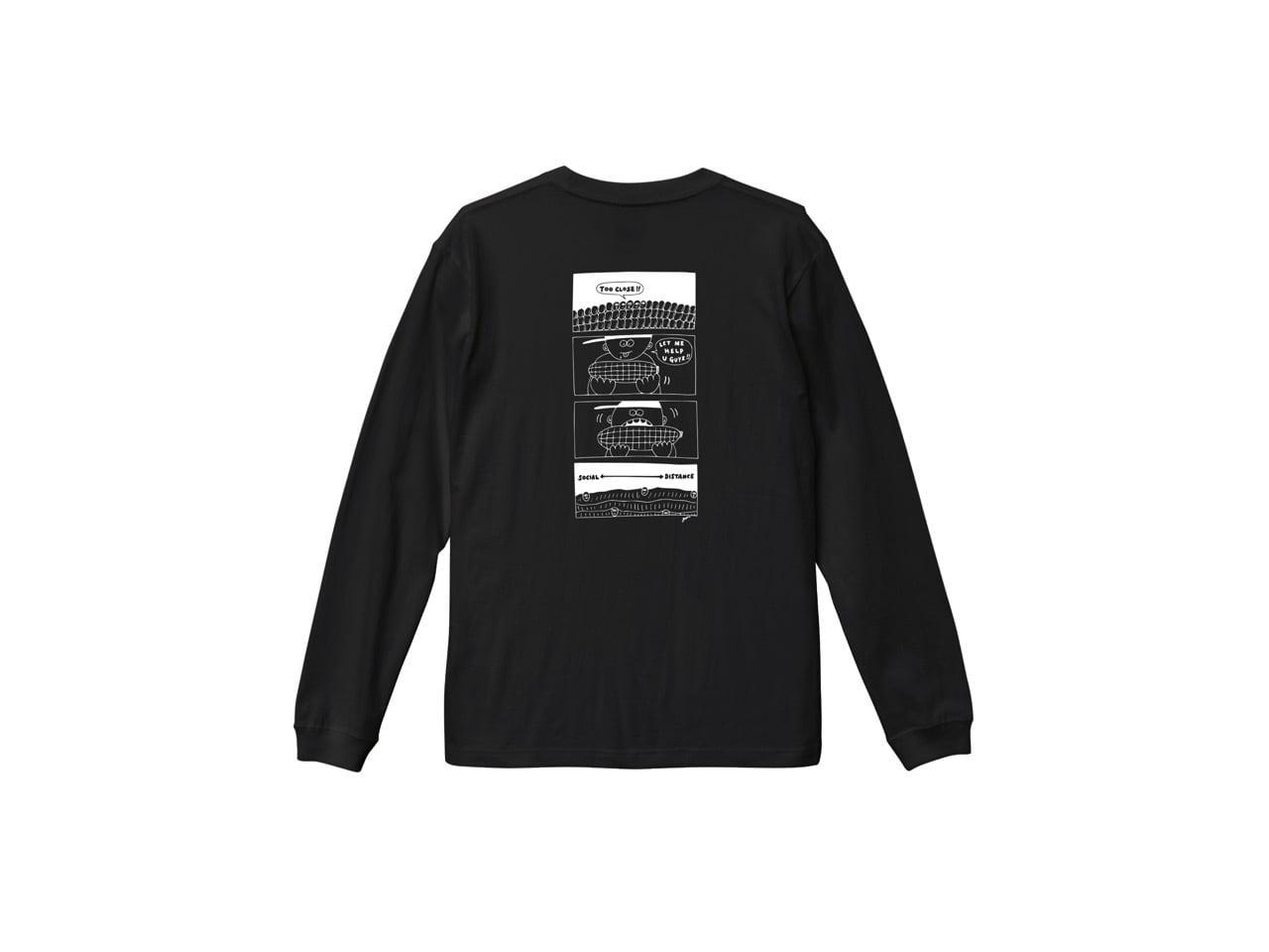 SHI × coguchi Corn SD long T-shirt (BLK/WH)