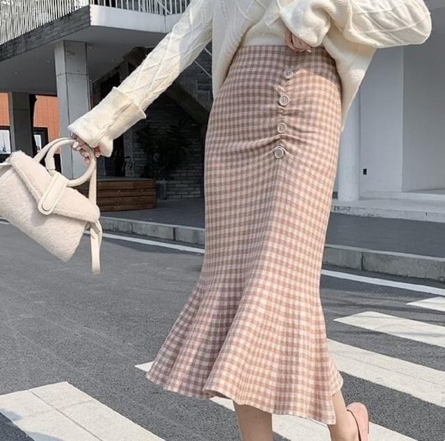 サイドボタンマーメイドフレアスカート*SK2020043i