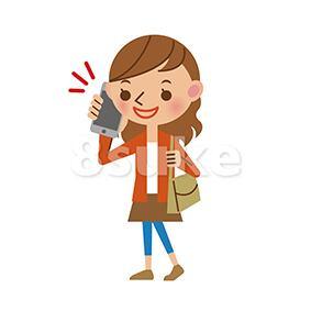 イラスト素材:スマートフォンで通話する若い女性(ベクター・JPG)