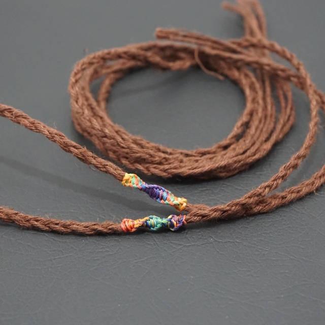 ヘンプ紐 三つ編み ブラウン