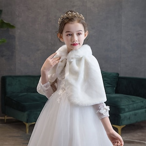 1518キッズ ボレロ  子供 ドレス 子ども フォーマル カーディガン 女の子ポンチョ キッズ ボレロ マント ファー 白色100cm-165cm