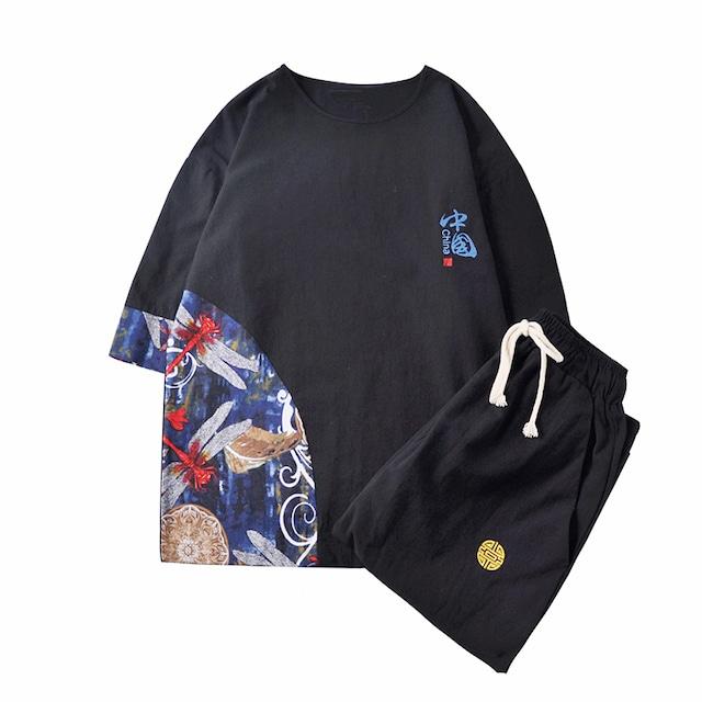 【無夢記シリーズ】★チャイナ風セットアップ★ 2color 青or黒 トップス+ズボン カジュアル 大きいサイズ