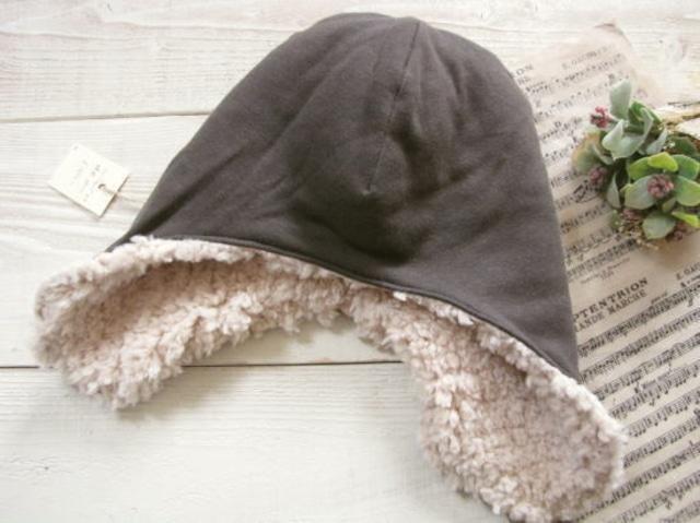 フライングキャップ*帽子 ボア・カーキ/aco.