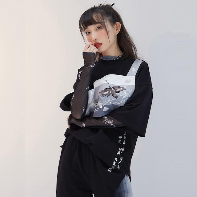 【十三余シリーズ】★チャイナ風Tシャツ★ トップス 水墨柄 ブラック 黒い ゆったり 半袖 ラウンドネック