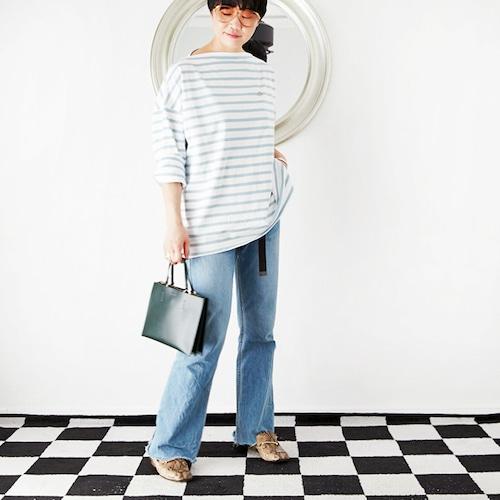 [OUTLET]L'Ancre (アンカー)バスクボーダーBIGドレスTシャツ