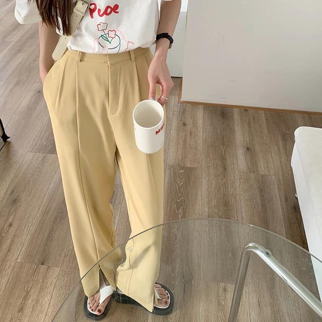 【パンツ】センタースリットスラックス(yellow)