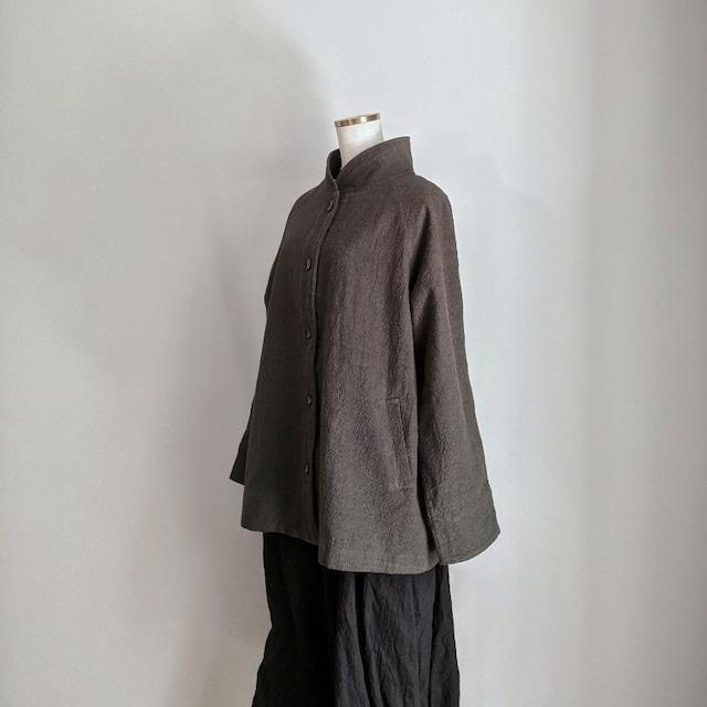 チェンマイ かわいいボタンがついたスタンドカラーのジャケット モスグリーン