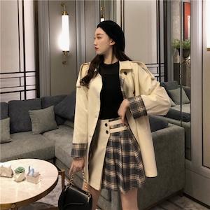 【セット】「単品注文」長袖ファッションチェック柄POLOネックトレンチコート+スカート42920116