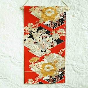 帯タペストリー 袋帯 朱・菱・花紋様