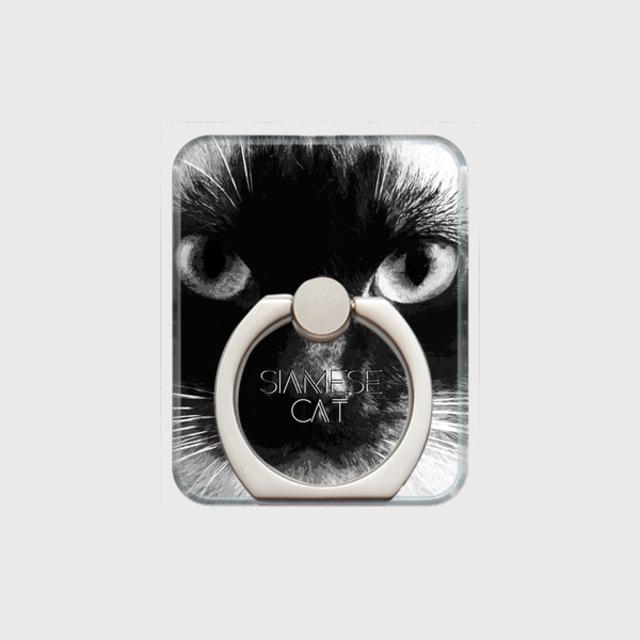 シャム猫 おしゃれな猫スマホリング【IMPACT -shirokuro- 】