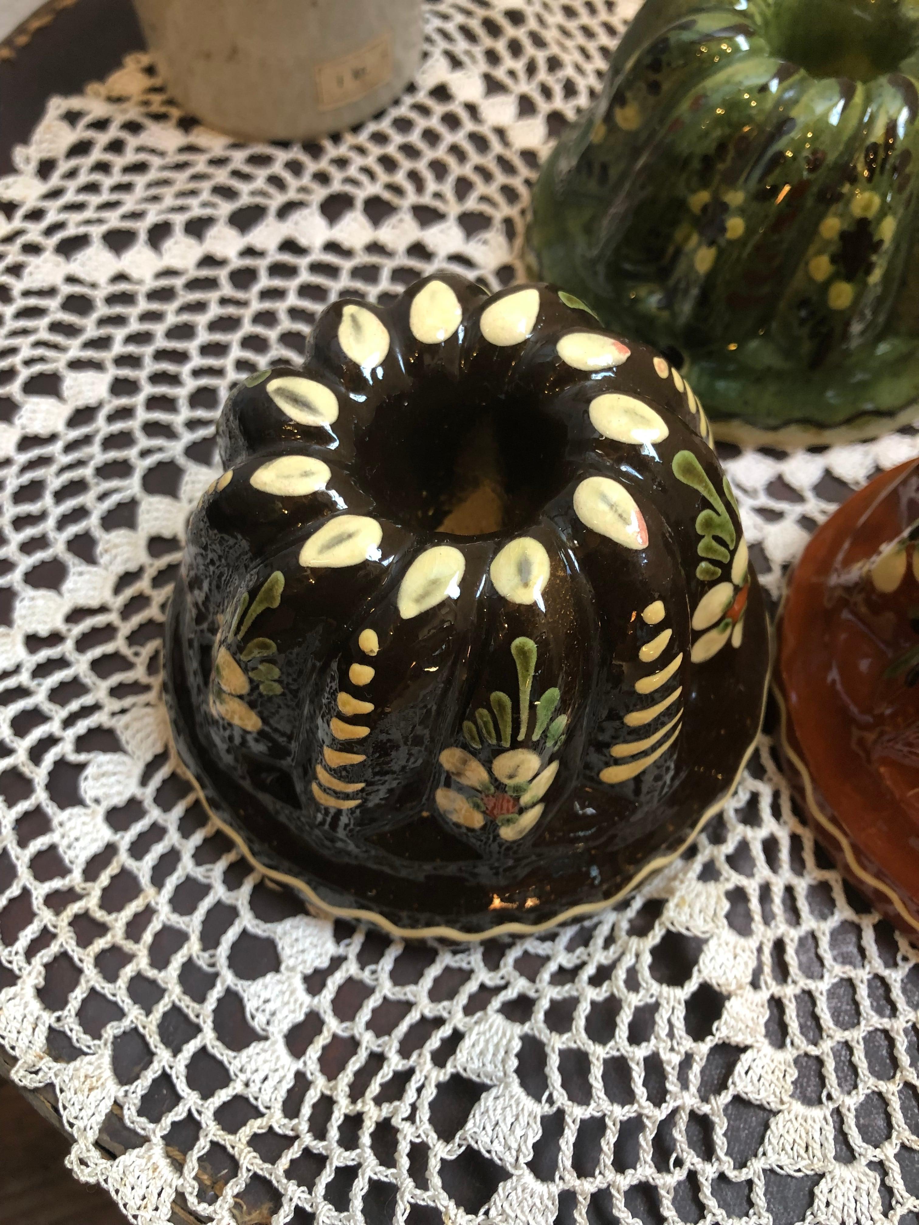 フランスアルザス地方 陶器のクグロフ型 ダークブラウンSサイズ