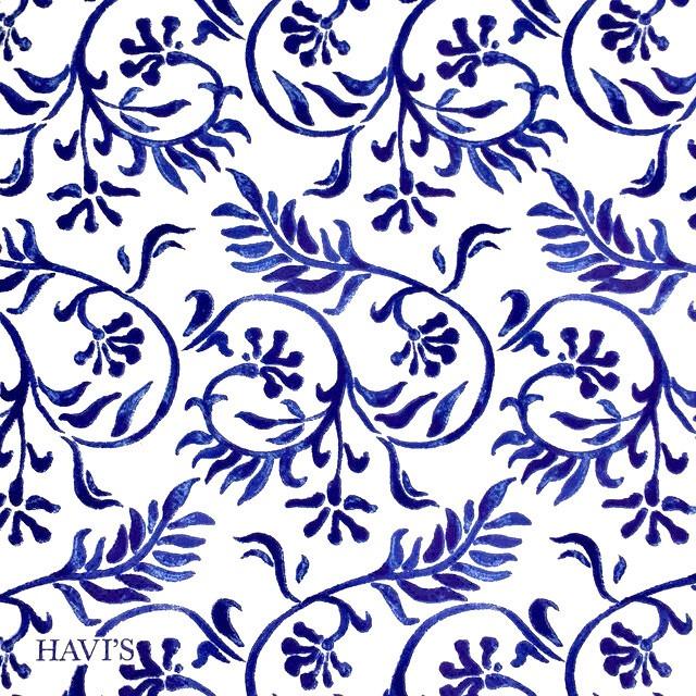 北欧【HAVI'S】バラ売り1枚 ランチサイズ ペーパーナプキン INDIGO FLOWER ホワイト