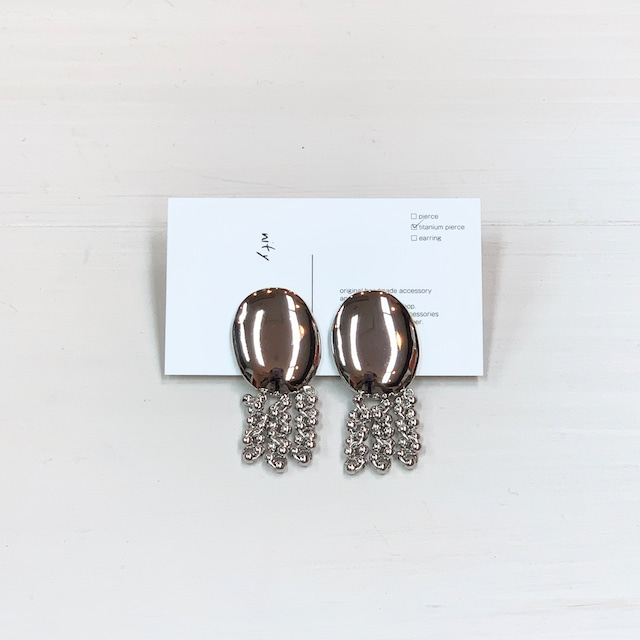 【nity】Oval silver classic チタンピアス & イヤリング:シルバー