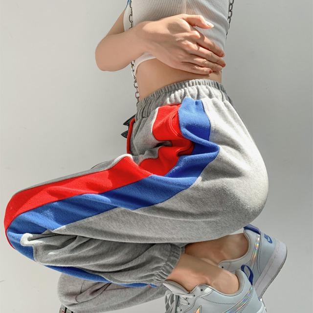 【ボトムス】韓国系ストライプ柄ハイウエストアンクル丈(9分丈)カジュアルパンツ50388509