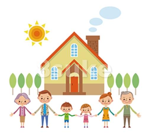 イラスト素材:マイホームの前で手をつなぐ3世代家族(ベクター・JPG)