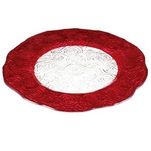 IVV Roseto 31cm red プレート   【イタリア製ガラス食器】