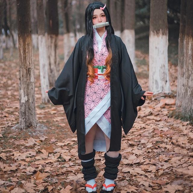 竈門 禰豆子 (かまど ねずこ) コスプレ 服 ウイッグ付き 生地 コスチューム レディース 衣装 なりきり 制服 着物 ハロウィン パーティー