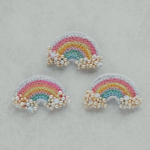 【手刺繍の虹のブローチ】朝焼けレインボー(1個)