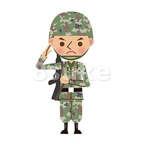 イラスト素材:銃を持って敬礼する自衛官・軍人(ベクター・JPG)