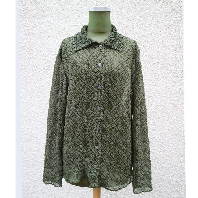 Khaki pleats shirt