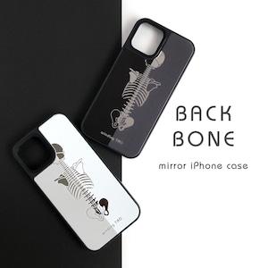 背骨 ミラーケース[ブラック・ライトグレー][iPhone12対応]