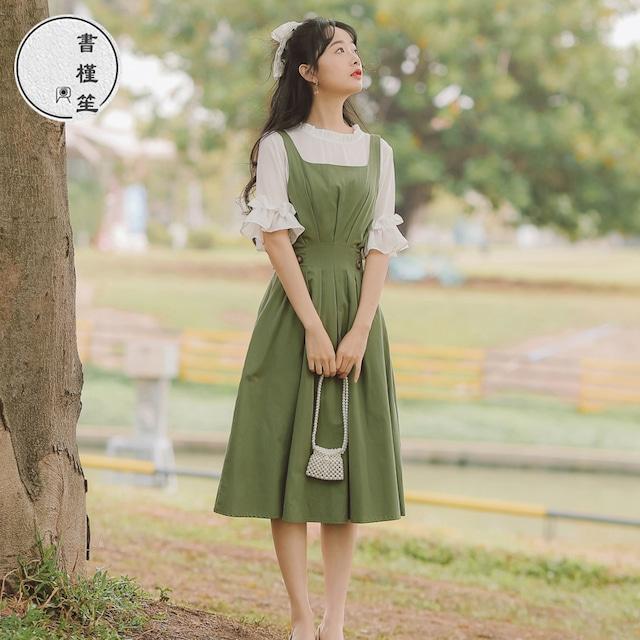 【書槿笙シリーズ】★セットアップ★ シャツ+つりスカート グリーン 無地 気質アップ 着痩せ S M L XL