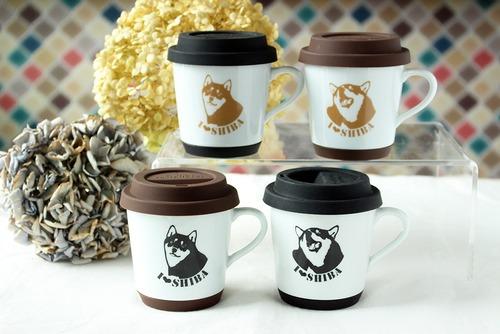 キリッと可愛い柴犬柄 滑り止め&蓋つきマグカップ