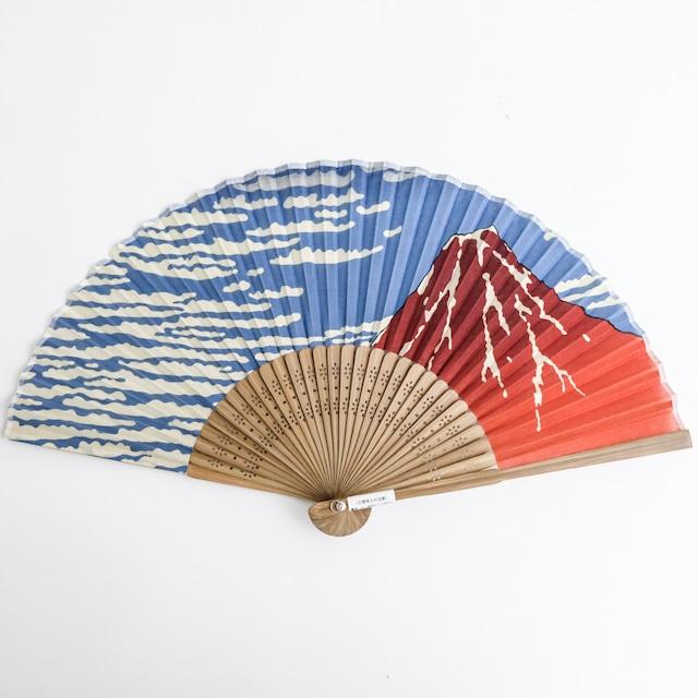 葛飾北斎 扇子 赤富士