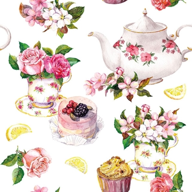 【Ambiente】バラ売り2枚 ランチサイズ ペーパーナプキン Flower in Teacup ホワイト