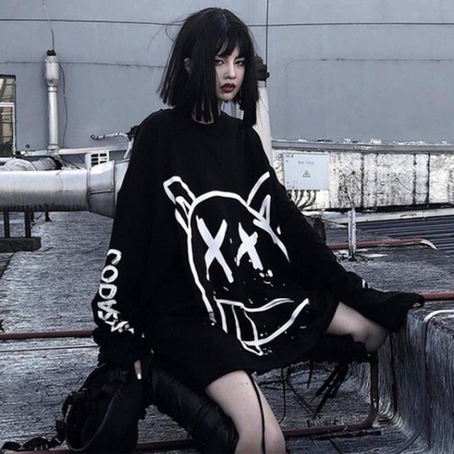 【トップス】暗黒系ストリートファッションプリントパーカー34225818
