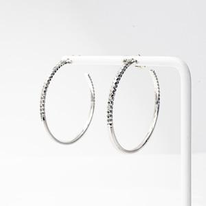 Rock Gold Hoop Pierced Earrings / L(E203-WG)